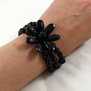 Fantastic Large Flower Jet Black Glass Bracelet