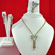Vintage AB Rhinestones Necklace Brooch and Earrings Set