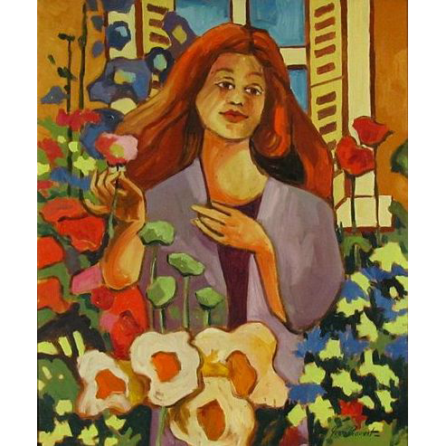 Canadian Yvon Provost (1935-) Large Portrait Oil Painting