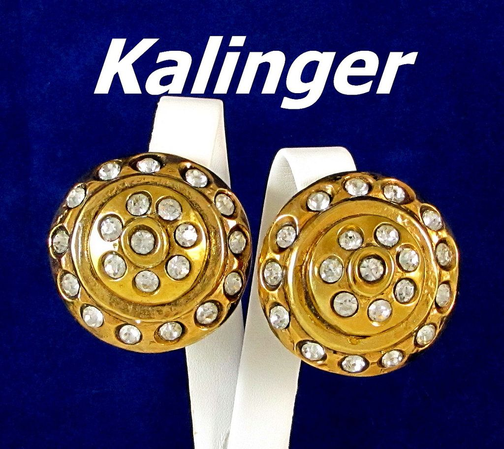 Kalinger Paris Bold Rhinestone Dome Gold Tone Earrings