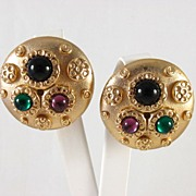 Bold Dome RLF Earrings with Glass Cabochons