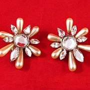 Large Rhinestone and Tear Drop Faux Pearl Earrings