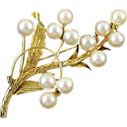 14 Kt Gold and Round Cultured Pearls Floral Brooch Pin