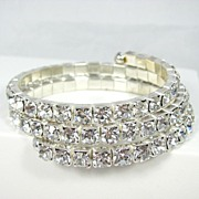 Dazzling Large Clear Rhinestone Stretch Bracelet