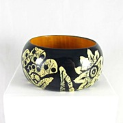 Vintage Wide Floral Painted Wooden Bangle