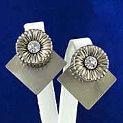 Designer Sylvie Germain Modernist Chrome & Rhinestone Earrings