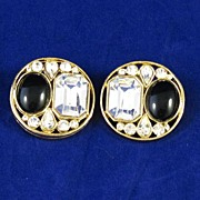 Bold Jet Black Glass and Rhinestone Earrings