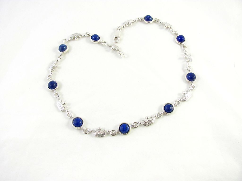 Vintage Sterling Silver With Lapis Lazuli Linked Necklace