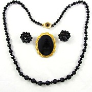 Vintage Jet Black Glass Necklace Brooch Earrings Set