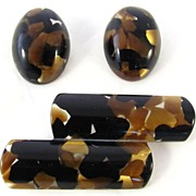 Italian Modernist Confetti Lucite Brooch and Earrings