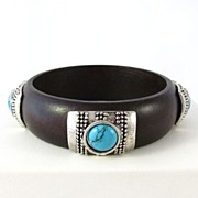 Wonderful Wooden Bangle Bracelet with Faux Turquoise