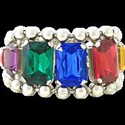 Bold Vintage Rhinestone Silver Tone Bracelet
