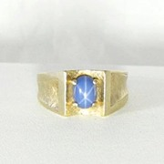 10 Kt Gold Blue Star Sapphire Ring Size 10