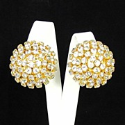 Bold Dazzling Clear Rhinestone Domed Earrings