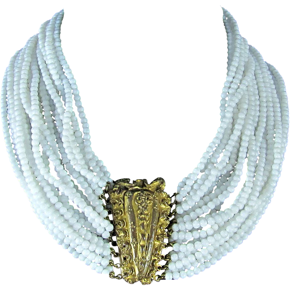 Fabulous Ornella Italy Multi Strands Milk Glass Beads Bib Necklace