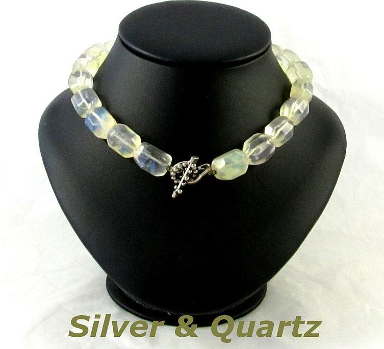 Vintage Sterling Silver Toggle Quartz Beads Choker Necklace