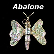 Vintage Large Articulated Abalone Butterfly Pendant