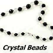Large Graduated Jet Black and Crystal Beads Necklace