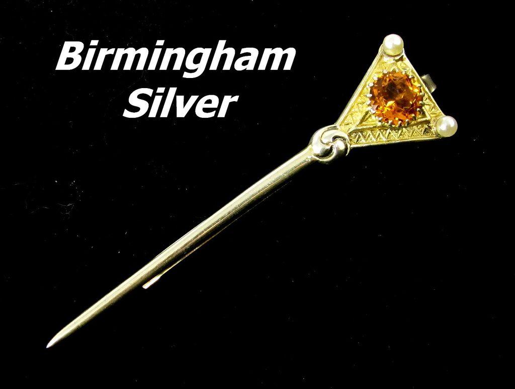 Vintage vermeil sterling silver birmingham tie bar clasp for Sell jewelry birmingham al
