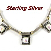 Modernist Sterling Silver and MOP Choker Necklace