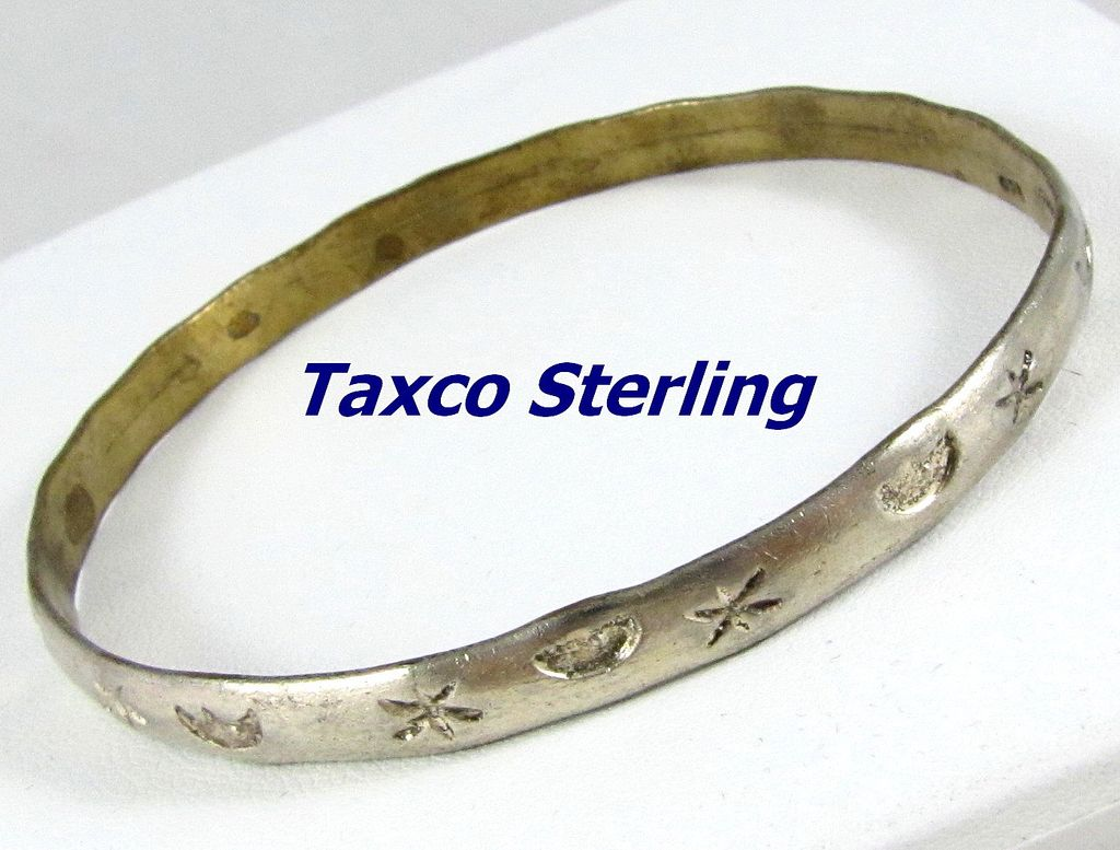 Vintage Taxco Mexico Sterling Silver Bangle Bracelet Sold