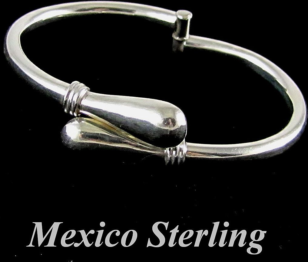 Taxco Mexico Sterling Silver Modernist Clamper Bracelet