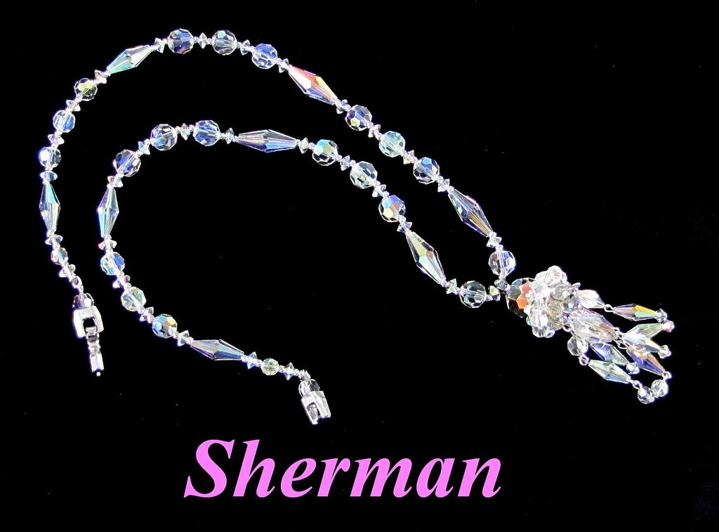 Fabulous Sherman Crystal AB Tassel Sautoir Necklace