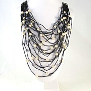 Large Multi Strand Simulated Pearl Drape Bib Necklace