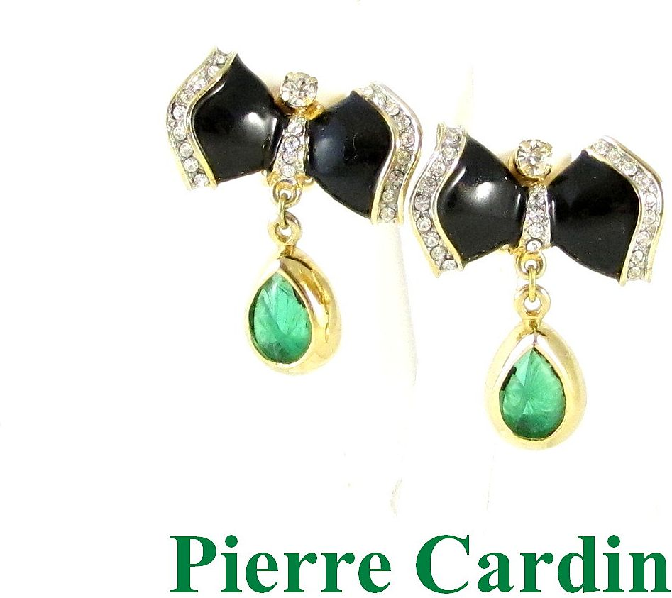 Dazzling Pierre Cardin Rhinestone & Enamel Drop Earrings