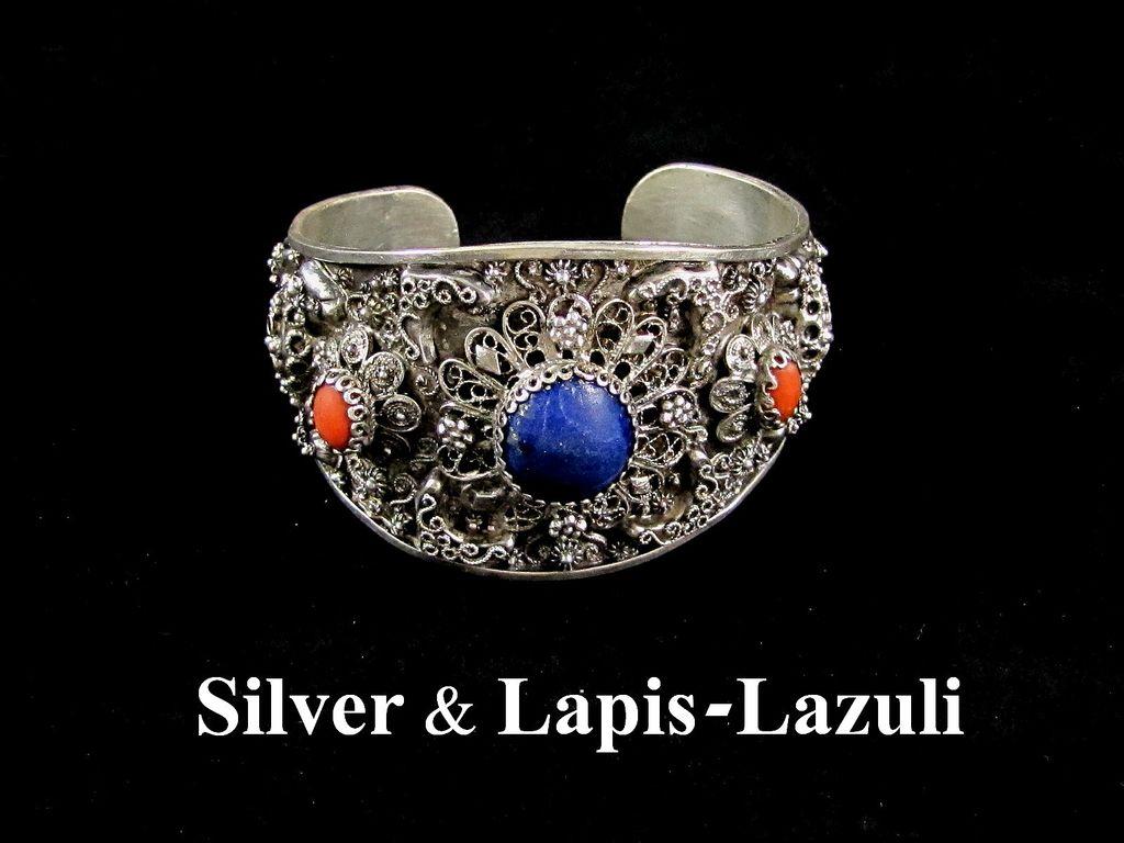 Large Sterling Silver Filigree & Lapis Lazuli Cuff Bracelet