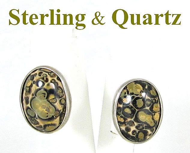 Vintage Sterling Silver & Quartz Pierced Earrings