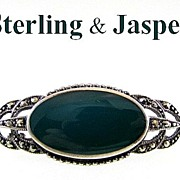 Vintage Sterling Silver Brooch with Marcasite & Jasper Stone