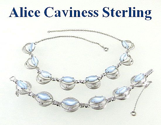 Alice Caviness Sterling Silver Necklace and Bracelet Set