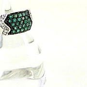 Bold Sterling Silver & Emeralds Ring Size 6