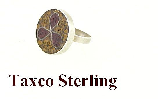 Sterling Silver Taxco Mexico Mosaic Ring Size 6