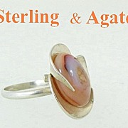 Modernist Sterling Silver & Agate Ring Size 9