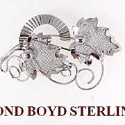 Modernist Bond Boyd Sterling Silver Leaves Brooch