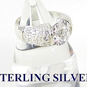 Huge Sterling Silver Cocktail Engagement Ring Size 8.5