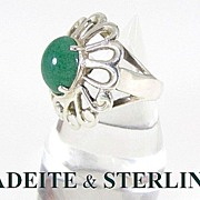 Bold Modernist Jadeite & Sterling Silver Ring Size 8.5