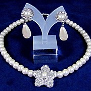Simulated Pearls and Rhinestones Necklace with Post Earrings
