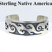 Fabulous Native American Bear Claw Sterling Bracelet