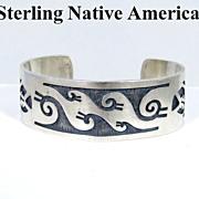 Fabulous Native American Bear Claw Sterling Bracelet