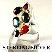 Modernist Sterling Silver & Amethyst Ring Size 7.5