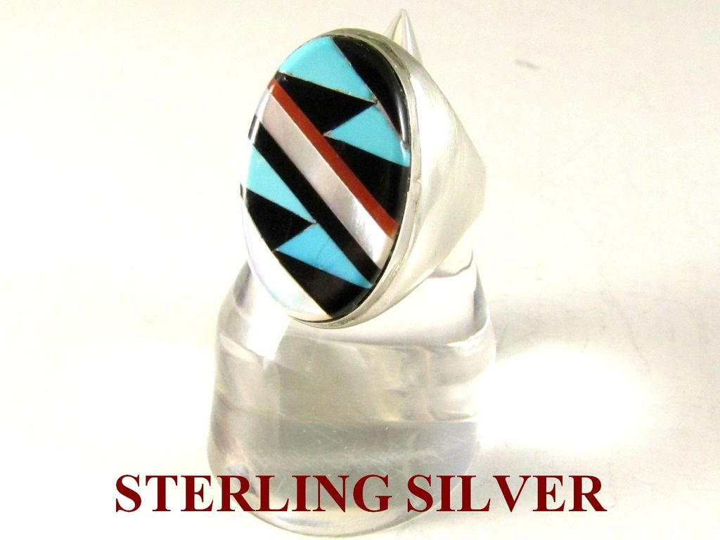 Zuni Sterling Silver Ring & Inlay of Turquoise, Coral, Onyx and MOP Size 10.5