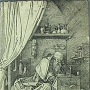 Albrecht Durer Woodcut 1511 Meder a or b Saint-Jerome in His Cell
