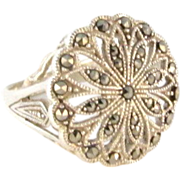 Huge Sterling Silver Marcasite Flower Ring Size 9