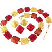 Vintage Murano Foil Glass Red Gold Necklace with Earrings