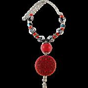Vintage Murano Oriental Statement Red Necklace