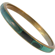 Vintage Malachite and Brass Bangle Bracelet