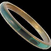 Vintage Malachite and Brass Bangle Bracelet